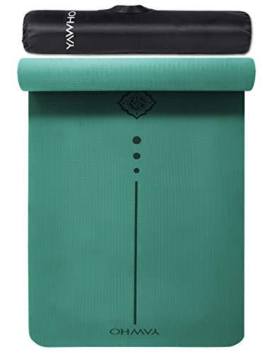 YAWHO Tapis de Yoga Tapis Fitness Tapis d'Exercice,matières de TPE,Dimension:183cmX66cm,épais de 6 mm,très Grand Tapis de Sport antidérapant,Un Sac à Dos comme des Cadeaux (Green)