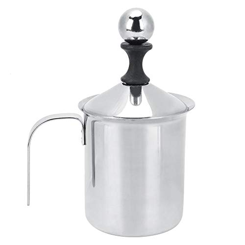 Wifehelper Espumador de leche de acero inoxidable de 400 ml de doble malla manual crema de leche espumante de espuma de café Latte
