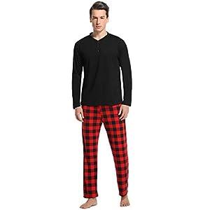 Vlazom Men's Pajama Sets Long Sleeve Top and Plaid Fleece Pants for Men Sleepwear PJs S-XXL