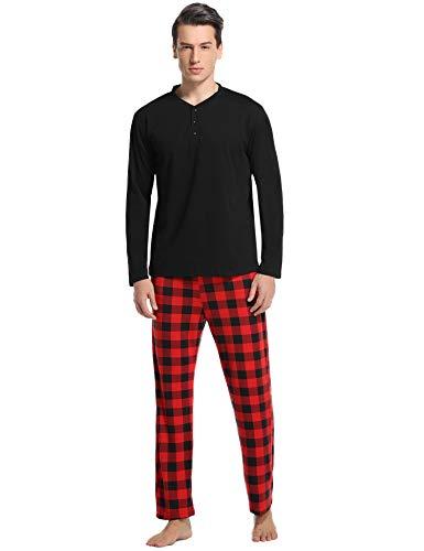 Vlazom Herren Pyjama Set Lang Zweiteiliger Schlafanzug Herren Kariert Flanell Hose und einfärbiger T-Shirt