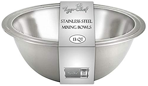 Tiger Chef Mixing Bowls Standard Weight Stainless Steel, Mirror Finish, 13 Quart, 2 Pack