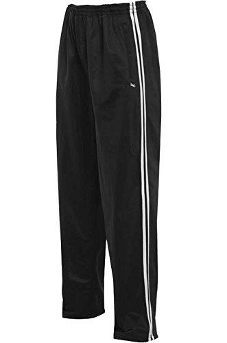 Dalsa - Pantaloni sportivi da jogging, da uomo, a righe, in seta, con gamba regolare, 31 - 32 cm Nero  XL