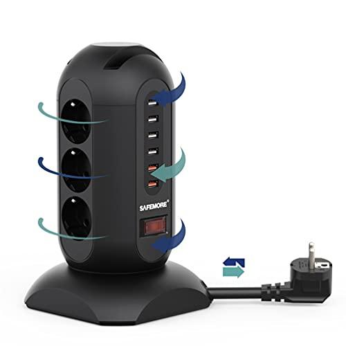 SAFEMORE Multipresa Verticale,Ciabatta Multipresa 6 porte USB e 9 prese,cavo prolungato di 1.85M,Protezione da Sovratensione e Cortocircuito,Torretta Multipresa per casa e ufficio,Supporto Telefono
