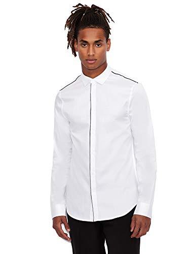 ARMANI EXCHANGE Satin Cotton Popeline White Shirt Camicia, Bianco, XS Uomo