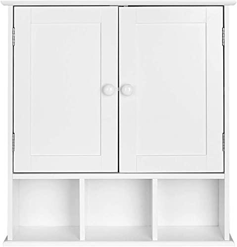 Armario Baño Pared Mueble Baño Armario Colgante Cocina 2 Puertas y 3 Compartimentos Madera Blanco 56x13x58cm