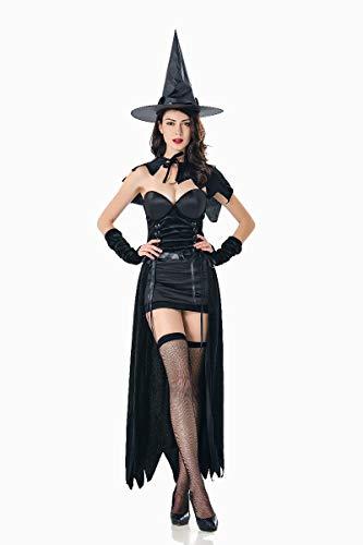 XSQR Halloween Mujer Maquillaje Cosplay Bruja Mágica Disfraz De Rendimiento Negro