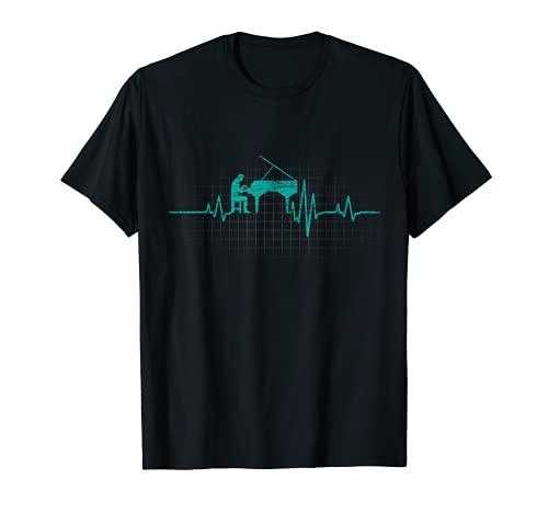Klavier T-Shirt - Flügel EKG Klavierspieler Pianist Geschenk