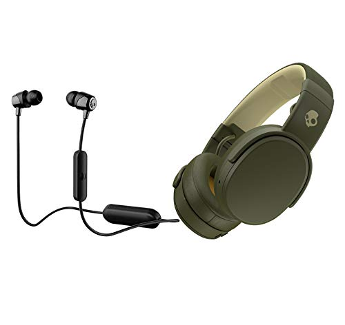 Skullcandy Crusher Foldable Noise Isolating Over-Ear Wireless Bluetooth Immersive Headphone Bundle with Skullcandy Jib Bluetooth Wireless in Ear Earbuds -...