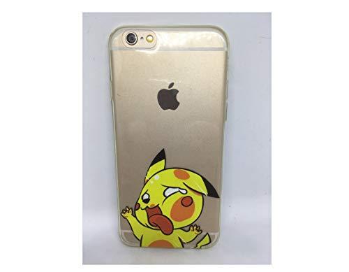 Phone Tattoo Coque Silicone Souple Compatible avec Iphone 6 ou Iphone 6s Humour Fan de jeux Videos Pikachu Se Cogne dans une Vitre Protection Intégrale Couleur Transparente Cadeau Ideal