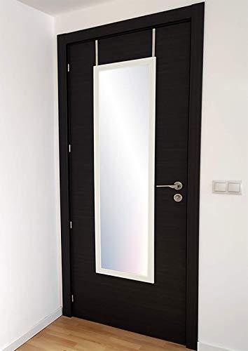 Chely Intermarket, Espejo Puerta 35x100cm de Madera(Marco Exterior 42x107cm) Blanco MOD-128   Forma Rectangular   Dormitorio, Acabado Elegante, Ideal para decoración(128-35x100-4,55)