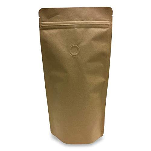 100 Kaffeebeutel/Standbodenbeutel/Stehbeutel/Tüte/Beutel, Kraftpapier, mit Aromaschutzventil (250g, Braun)
