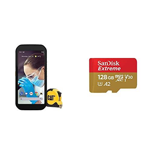 CAT S42 Edition - Robustes Outdoor Smartphone mit Silberpartikel gegen Bakterien & Keime (32 GB Speicher) - schwarz & SanDisk Extreme microSDXC UHS-I Speicherkarte 128 GB + Adapter & Rescue Pro Deluxe
