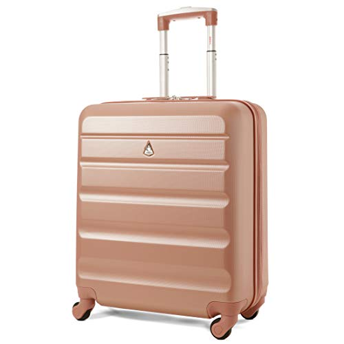 Aerolite 46L Lightweight Hard Shell Hand Luggage Carry On Cabin Bag Suitcase 4 Wheels 56x45x25 - Rose Gold - easyJet Maximum Allowance