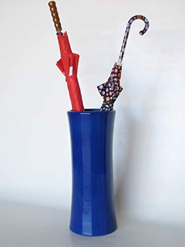POLONIO - Paraguero de Ceramica Azul de 50 cm - Bastonero de Ceramica para Entrada y Pasillo - Jarron de Ceramica Grande Color Azul Cobalto.