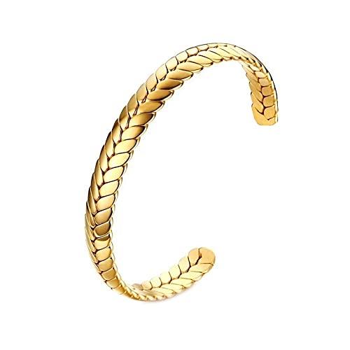 FACHA Birthday Present - Pulsera de acero inoxidable para hombre, diseño de pulsera abierta, para hombre (color dorado, tamaño: M)