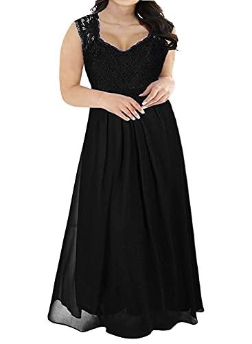 Nemidor Women's Deep- V Neck Sleeveless Vintage Plus Size Bridesmaid Formal Maxi Dress (18W, Black) (Apparel)