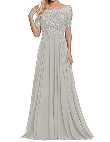 Mother of The Bride Gown Chiffon Lace Appliques Evening Party Dresses Silver US20W (Apparel)