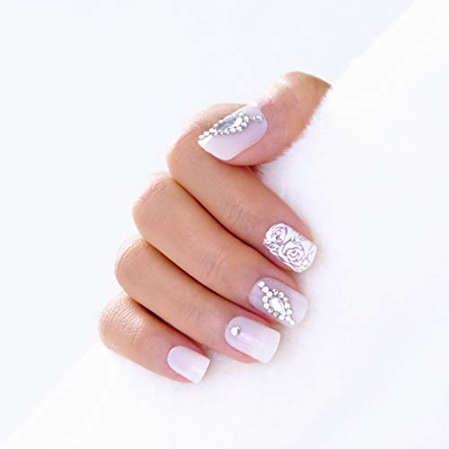 Lily Lemons Premium Salon Press On Nails 30 pcs Short Oval Round Squoval Designs, Comfortable Fit, Gel Glossy White Bridal Nail Art, Handcrafted Luxe Gemstones, Fake Nails False Nails Stick On Nails