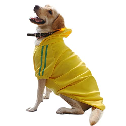DULEE Ropa Perro Grande,Cálido Sudadera con Capucha para Perros Algodón Suéter Chaqueta Abrigo Costume Pullover para Mascota Perro Gato Gelb 6XL