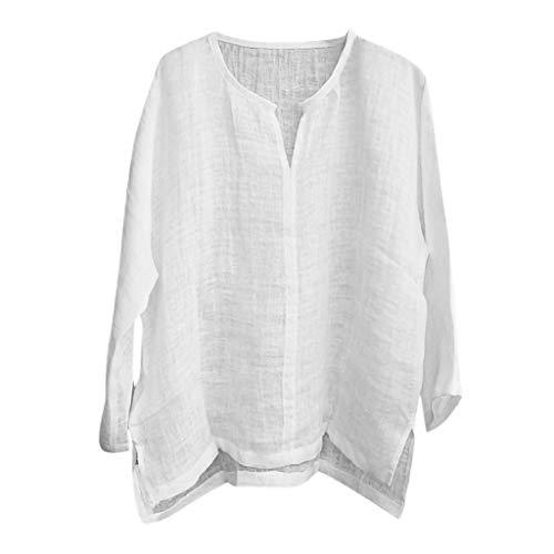 Yowablo Leinenhemd Herren Hemd Herren Langarm Sommerhemd Herren Regular Fit Freizeithemd Kurzes atmungsaktives bequemes einfarbiges langärmliges lockeres lässiges T-Shirt (5XL,Weiß)