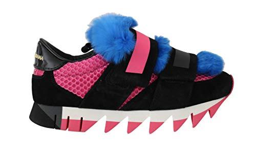 Dolce & Gabbana - Zapatillas de piel para hombre, color negro y azul, Negro (Negro), 36.5 EU