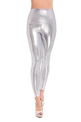 Softsail Damen Latex-Leggings, hohe Taille, schlankes Design, Wet-Look, Kunstleder, volle Länge, solide Skinny Pants LTPNL Gr. 34, silber