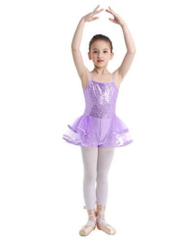 YOOJIA Maillot de Ballet Gimnasia Niñas Leotardo con Lentejuelas Falda Tutú Mono Rendieminto Patinaje Dancewear (5-14 Años) Lavanda 10-12 Años