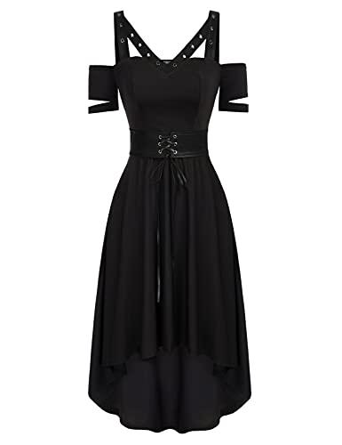 SCARLET DARKNESS Vintage cocktailjurk voor dames, korte mouwen, met PU-lederen riem, gothic steampunk-jurk