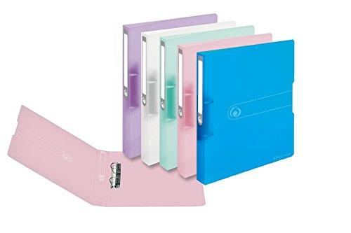 Ringbuch A4 PP 2-Ring 3,8cm Pastell transparent 5er-Pack sort.