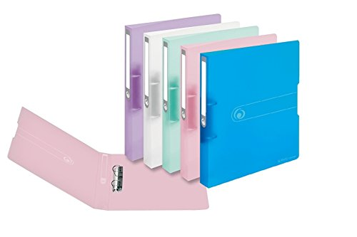 Ringbuch A4 PP 2-Ring 3,8cm Pastell transparent 5er-Pack sort.
