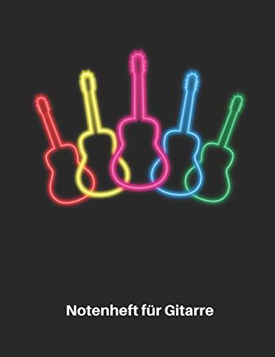 Notenheft für Gitarre: Retro Neon Akustik Gitarren Notenbuch 110 Seiten mit leeren Tabs und Akkord Feldern. Tolle Geschenk Idee für Gitarristen, Gitarren Lehrer und Schüler.