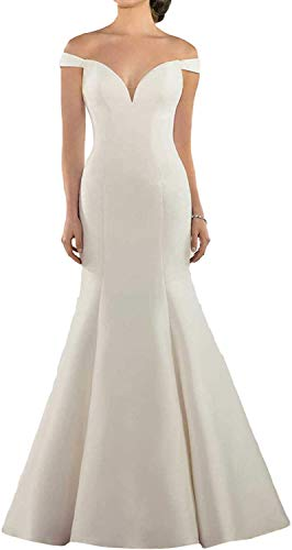 iluckin Sexy Off Shoulder Cap Sleeves Mermaid Satin Wedding Dresses with Train Bridal Ball Gown for Women Bride White