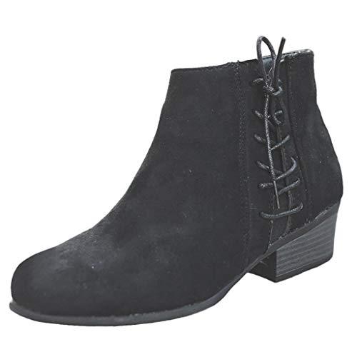 SuperSU-Stiefel Damen Herbst High Heel Retro Stiefeletten Klassiker Blockabsatz Schlupfstiefel Frauen Casual Short Ankle Boots Schuhe Große Größen Stiefel Mode Wild Römerstiefel