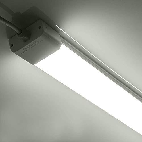 Anten Deckenleuchte LED 36W, 120 cm, 2700-3300 Lumen, Kaltweiß 6000K, Wasserdichte flache Feuchtraumleuchte, IP65 Wannenleuchte geeignet für Bad, Schwimmbad, Garage, Keller, Büro, Feuchtraum usw.