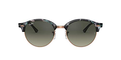Ray-Ban Clubround Round Sunglasses, Spotted Grey/Green, 53 mm