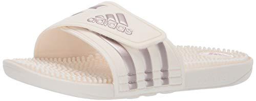 adidas Women\'s Adissage Slide Sandal, Vapour Grey Metallic/Cloud White, 11 M US