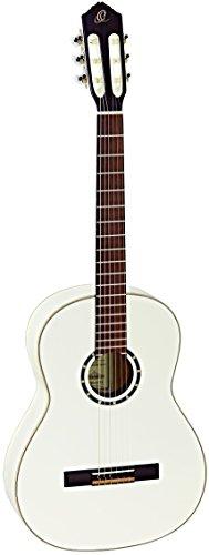 Ortega R121SNWH Konzertgitarre mit schmalem Hals (hochglanz Finish, Luxus Gigbag) weiß