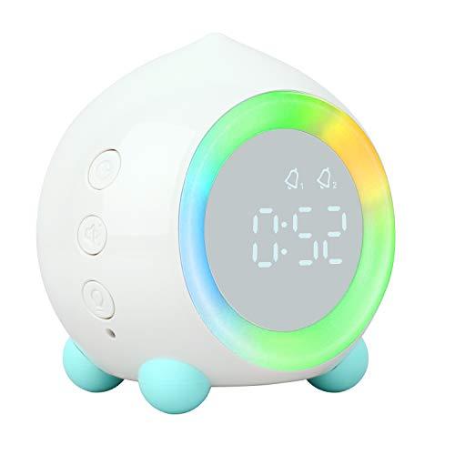 ZhaoCo Wecker Digital, Kinderwecker für Mädchen Jungen mit Sonnenaufgangssimulation und Nachtlicht, LED Wecklicht Ohne Ticken - Weiß