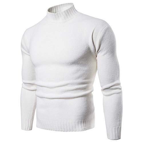 YANGPP Sweater Men No Turning Up Turtleneck Slim Bottom Sweater Knit Sweater Wool Blend Sweater,White,XL