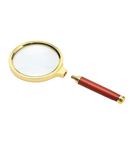 DONZY 10X Magnification Handheld Magnifier - Magnifying Glass for Reading, Coins, Insects, Magnifier for Kids and Old People with Removable Antique Mahogany Handle