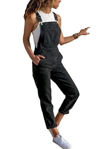 Tomwell Damen Latzhosen Jeanshosen Slim Fit Denim Overall Jumpsuit Vintage Jeanslatzhose Casual Denim Fraizeithose mit Taschen B Schwarz Medium