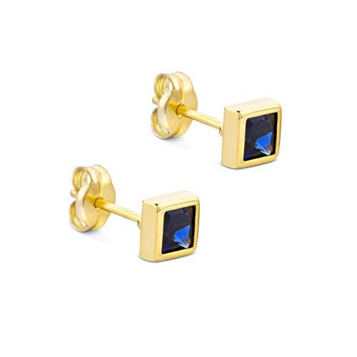 Orovi Schmuck Damen Quadrat Ohrringe mit Edelstein/Geburtsstein Saphir in Blau Ohrstecker aus Gelbgold 9 Karat / 375 Gold
