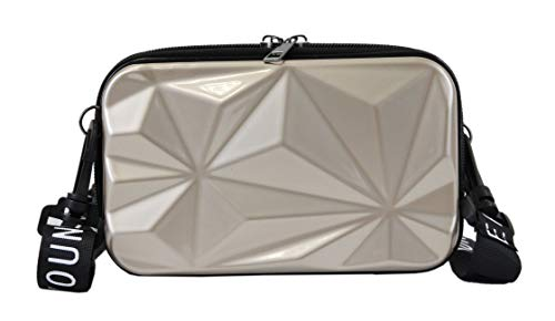 irisaa Bolso bandolera mini con forma de maleta para teléfono móvil de menos de 6,5 pulgadas, color Beige, talla Einheitsgröße
