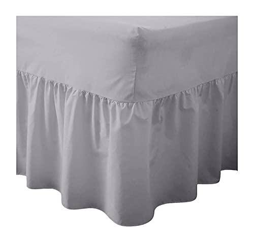 COTONWIZE Sábana bajera ajustable de polialgodón de fácil planchado, tamaño king, con cenefa de cama tamaño king, sábana bajera de algodón de poliéster y tamaño king