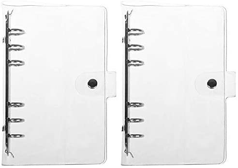 Pack of 2 Transparent Soft PVC 6-Ring Binder Cover w//Snap Button Closure for 6 Hole Planner Pages Refill Insert A6 Size