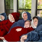 Plaid con maniche in pile da adulto - Coperta con maniche e cappuccio   Morbido - Grande - Per uomo e donna   Perfetto per le notti invernali sul divano   Colore Blu Navy