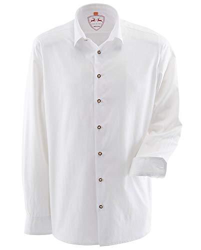 MADDOX Herren Trachtenhemd Unifarben - Weiß Gr. XXL (45/46)