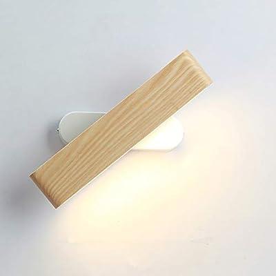 Lámpara de pared de diseño: giratoria de 360 °, puede ajustar la dirección de la luz como lo desee. Material: las luces de pared interiores están hechas de madera y metal reales. El grano de madera de aspecto natural le da a la lámpara un toque parti...