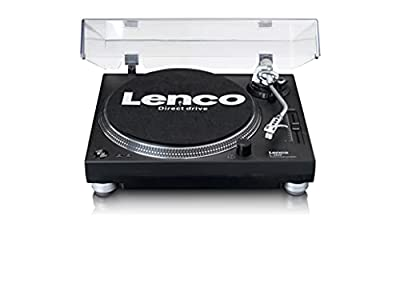 Lenco L-3809 Professional Direct Drive Turntable | Lighting, Stroboscope and Variable Pitch Fader | Black