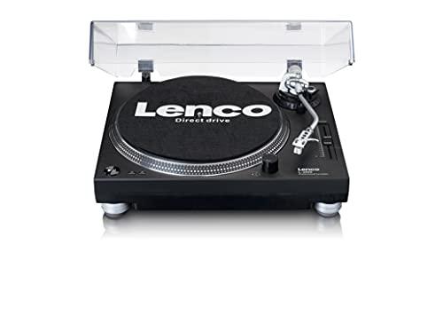 Lenco L-3809 Tocadiscos de accionamiento directo profesional   Iluminación, estroboscopio y atenuador de paso variable   Negro
